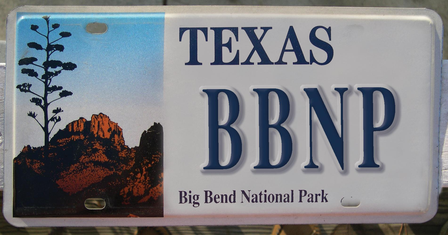 Big Bend National Parl License Plate